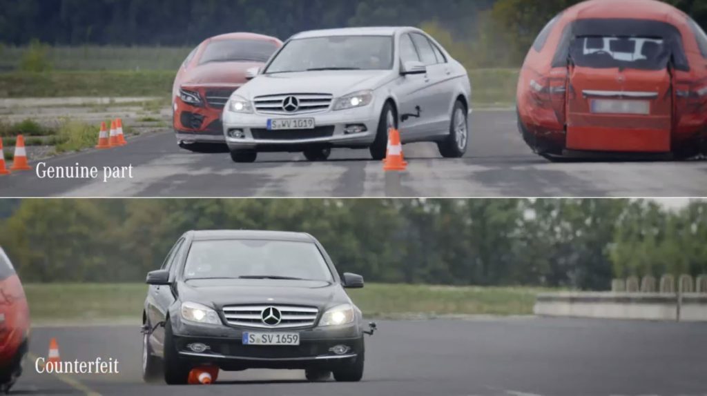 MERCEDES TESTS FAKE TIE-RODS